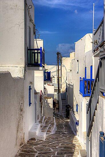 Down a Lane in Mykonos by Tom Gomez