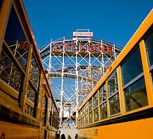 CONEY ISLAND CYCLONE RIDE WITH SCHOOL BUSES by Paul Tanner