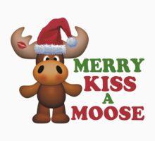Cute Merry Kiss A Moose Christmas Kids Clothes