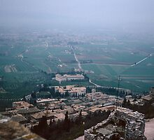 Looking past Assissi to plains from Rocca Maggiore Assissi Italy 198404110011m by Fred Mitchell