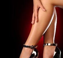 Woman legs in sexy silver high heel shoes art photo print by ArtNudePhotos