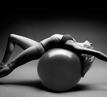 Woman Blanacing on Fitness Ball art photo print by ArtNudePhotos