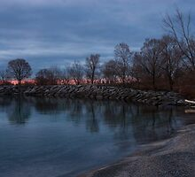 Calm, Pink Morning - Lake Ontario in Toronto by Georgia Mizuleva