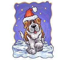 St. Bernard Christmas Photographic Print