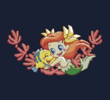 Pixel Ariel and Flounder by everlander