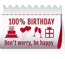 100 % birthday, fabric tag, textile label design for cards by beakraus