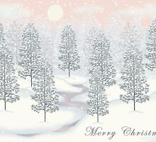 Snowy Day Winter Scene - Merry Christmas Card by Linda Allan