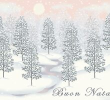 Snowy Day Winter Scene - Buon Natale Christmas Card by Linda Allan