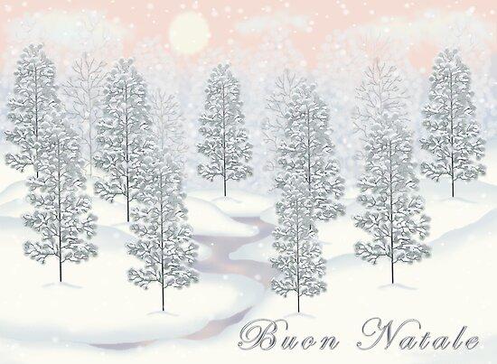 Snowy Day Winter Scene - Buon Natale Christmas Card by Linda Allan