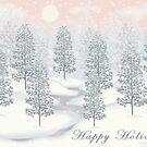 Snowy Day Winter Scene - Happy Holidays Christmas Card by Linda Allan