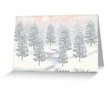 Snowy Day Winter Scene - Happy Holidays Christmas Card Greeting Card