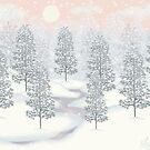 Snowy Day Winter Scene Print by Linda Allan
