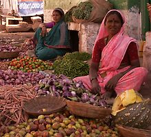 Women selling vegetables, Badami, India by indiafrank