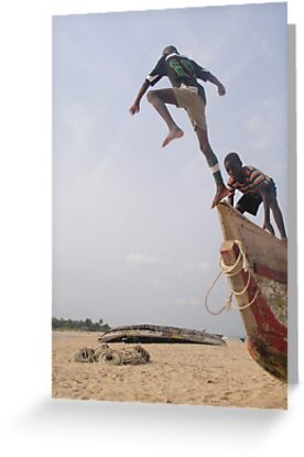 Ghana boys jumping off boat2 by TravelGrl