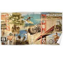 California Collage Art Poster