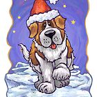 St. Bernard Christmas Card by Traci VanWagoner
