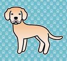 Light Yellow Labrador Retriever Cartoon Dog by destei