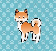 Red Shiba Inu Dog Cartoon by destei
