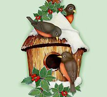 Winter Birds  and Christmas Birdhouse by SpiceTree