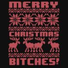 Merry Christmas Bitches 8-Bit Ugly Sweater Pattern by RexLambo