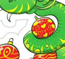 Green Snake Celebrating Christmas Sticker