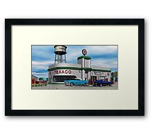 Route 66 1960 Small Town Texaco Gas Station Framed Print