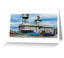Route 66 1960 Small Town Texaco Gas Station Greeting Card