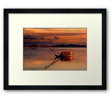 Lonely gaita at the lagoon of Messolonghi Framed Print