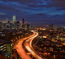 Blue Hour Sunset over Kuala Lumpur by Nur Ismail Mohammed