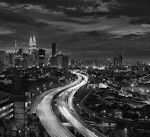 Sunset over Kuala Lumpur (B&W) by Nur Ismail Mohammed