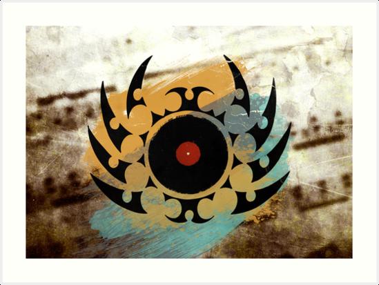 Retro Vinyl Records Music - Vinyl With Paint and Tribal Spikes - DJ TShirt by Denis Marsili - DDTK