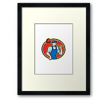 Plumber Holding Plunger Cartoon Framed Print