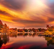 Sunset over Jamaica Pond by LudaNayvelt