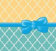 Ribbon, Bow, Moroccan Trellis - Blue White Orange by sitnica