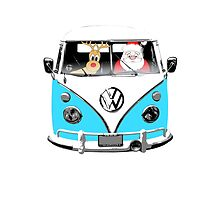 VW Camper Santa Father Christmas Bright Blue by splashgti