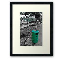 Green Trash Can  Framed Print