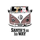 VW Camper Santa Father Christmas On Way Brown by splashgti