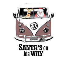 VW Camper Santa Father Christmas On Way Brown by splashgti