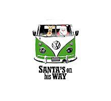 VW Camper Santa Father Christmas On Way Dark Green Photographic Print