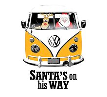 VW Camper Santa Father Christmas On Way Orange by splashgti