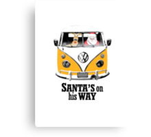 VW Camper Santa Father Christmas On Way Orange Canvas Print