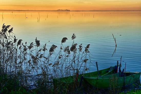 Trasimeno boats at sunset, Umbria, Italy by Andrew Jones