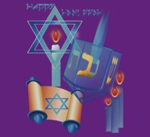Blue Glass Dreidel-Happy Hanukkah by Lotacats