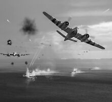Beaufighters attacking E-boats black and white version by Gary Eason