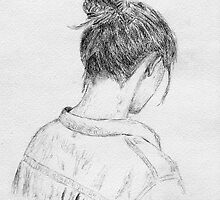 Young Woman Portrait from Behind - Artistic Sketch by ibadishi
