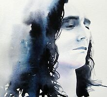 Loki / God of Mischief Tom Hiddleston Original Watercolour Painting Portrait Pop Art by KimberlyGodfrey