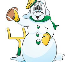 Football Snow Woman Cartoon by Graphxpro