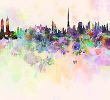 Dubai skyline in watercolor background by Pablo Romero