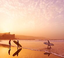 Surfers on Las Canteras at sunset by Lex Thoonen