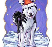 Husky Christmas Card by Traci VanWagoner